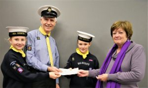2nd Warwick Sea Scouts receiving their cheques